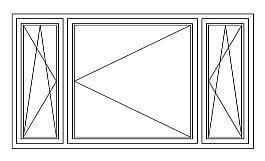 18 = Dreiflügeliges Fenster DK – D – DK